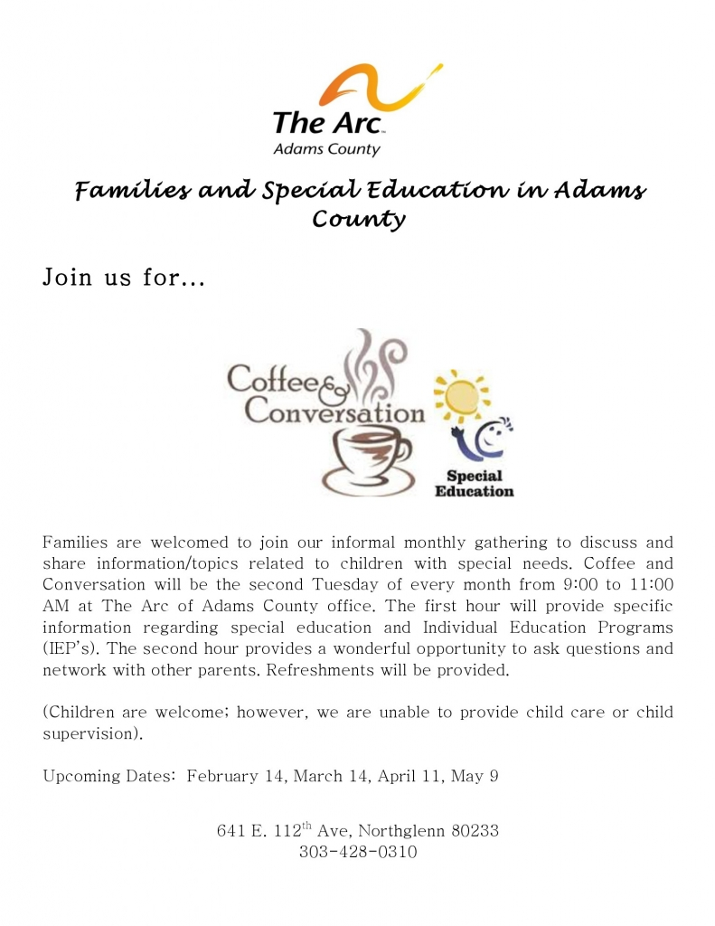 Coffee and Conversation @ The Arc of Adams Country Office  | Northglenn | Colorado | United States