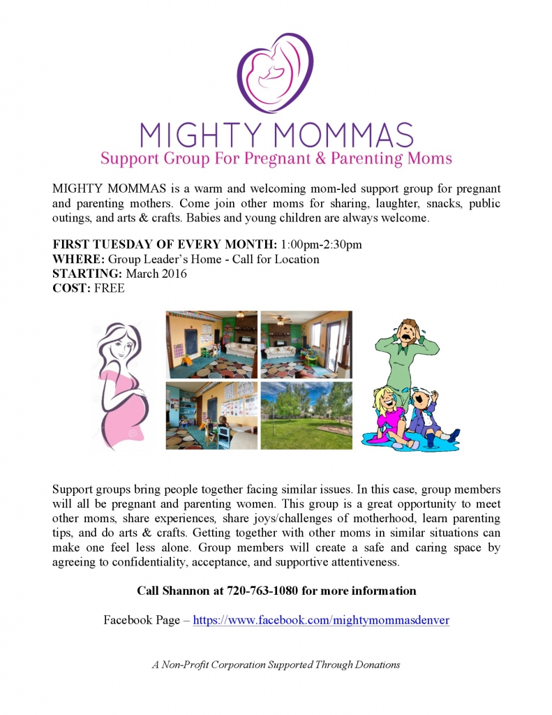 Mighty Moms Support Group @ Group Leaders Home- Call for Location